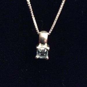 Sterling silver box chain topaz necklace.